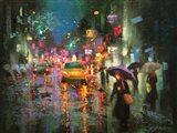 Night Rain in Village Art Print