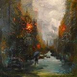 Rainy in South Manhattan Art Print
