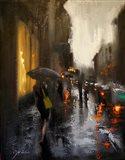 Village Cafe in Rain Art Print