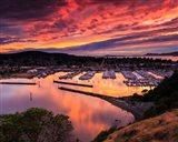 Red Sunset Over Harbor Art Print
