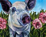 Pigs and Peonies Art Print