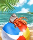 Beach Friends - Hermit Crab Art Print