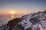 Ship Sailing into the Sunset in Oia Greece Art Print