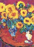 Red Table with Sunflowers Art Print