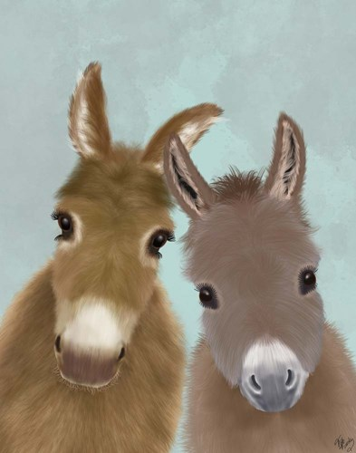Donkey Duo, Looking at You Art Print by Fab Funky