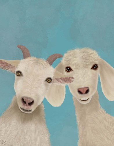 Goat Duo, Looking at You Art Print by Fab Funky