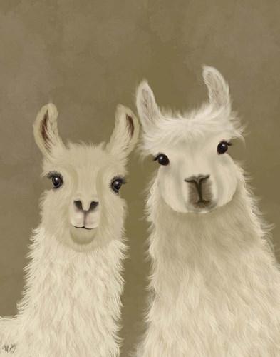 Llama Duo, Looking at You Art Print by Fab Funky