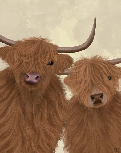 Highland Cow Duo, Looking at You Art Print by Fab Funky
