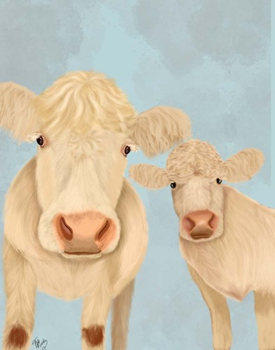 Cow Duo, Cream, Looking at You Art Print by Fab Funky