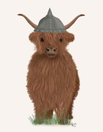 Highland Cow Viking Art Print by Fab Funky