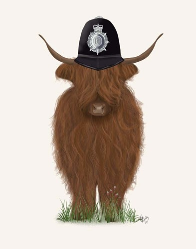 Highland Cow Policeman Art Print by Fab Funky