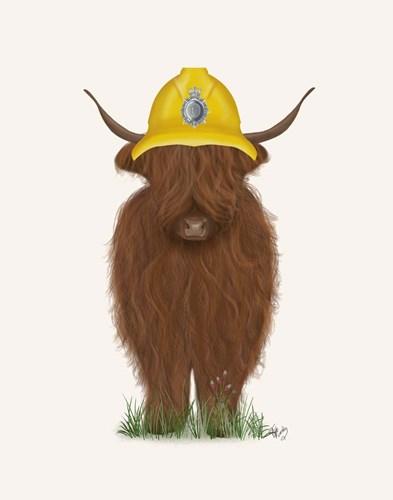 Highland Cow Fireman Art Print by Fab Funky