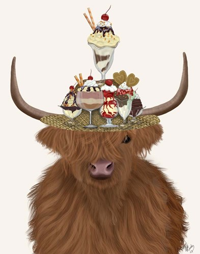Highland Cow and Ice Cream Hat Art Print by Fab Funky