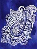 Indigo Paisley I Art Print