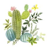 Happy Cactus I Art Print