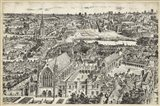 Bird's Eye View of London - Ely Place Art Print