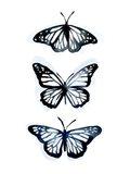 Blue Butterfly Trio II Art Print