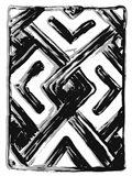 African Textile Woodcut IV Art Print