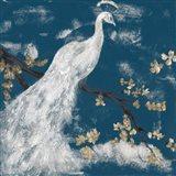 White Peacock on Indigo I Art Print