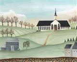 Folk Church Scene II Art Print