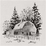 Distant Barn Sketch I Art Print