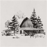 Distant Barn Sketch II Art Print