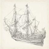 Antique Ship Sketch I Art Print