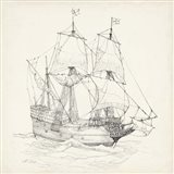 Antique Ship Sketch IV Art Print