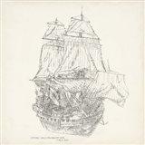 Antique Ship Sketch V Art Print