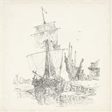 Antique Ship Sketch VII Art Print