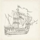Antique Ship Sketch VIII Art Print