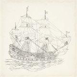Antique Ship Sketch IX Art Print