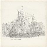 Antique Ship Sketch X Art Print