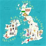 Illustrated Countries UK + Ireland Art Print