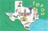 Illustrated State Maps Texas Art Print