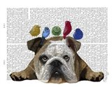 English Bulldog and Birds Art Print