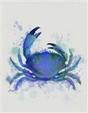 Crab 1 Blue Rainbow Splash Art Print