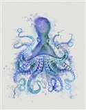 Octopus Rainbow Splash Blue Art Print