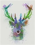 Deer Head 1 Rainbow Splash Blue and Green Art Print
