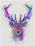 Deer Head 1 Rainbow Splash Pink and Purple Art Print