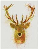 Deer Head 1 Rainbow Splash Red and Gold Art Print