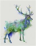 Deer 1 Rainbow Splash Green Blue Art Print
