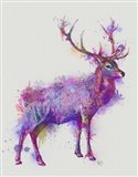 Deer 1 Rainbow Splash Purple Pink Art Print