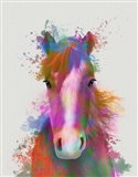 Horse Portrait 2 Rainbow Splash Art Print