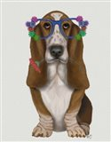Basset Hound Flower Glasses Art Print