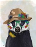Badger and Flower Glasses Art Print