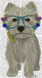 West Highland Terrier Flower Glasses Art Print