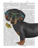 Dachshund Flower Glasses Art Print