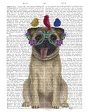 Pug and Flower Glasses Art Print