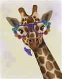 Giraffe and Flower Glasses 1 Art Print